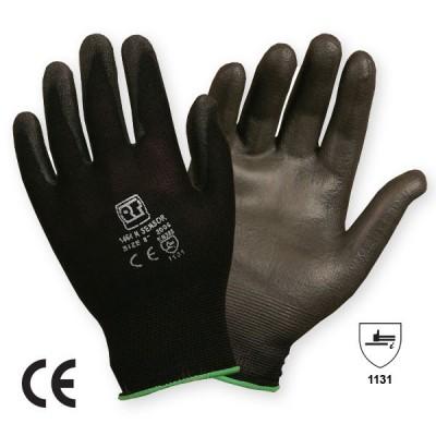 Manusa tricotata din nailon cu aplicatii din poliuretan pe degete si in palma SENSOR BLACK