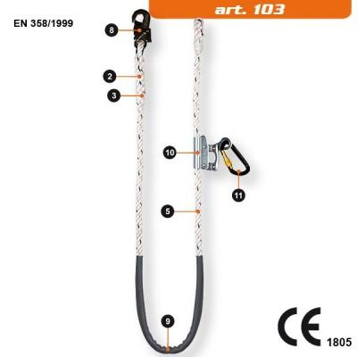 103 (122+123) Coarda de pozitionare reglabila, cu dispozitiv de reglare, � 16 mm, lungime 2 m