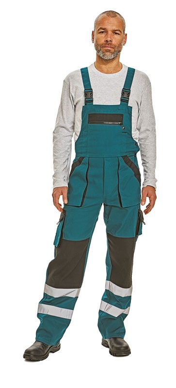 Pantaloni de salopeta cu pieptar MAX REFLEX  cu benzi reflectorizante
